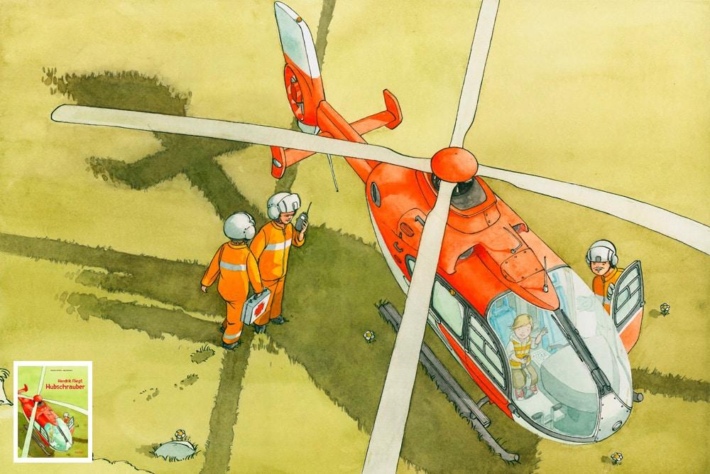 Kinderbuchillustration Kinderbuchzeichnung Helikopter Hubschrauber