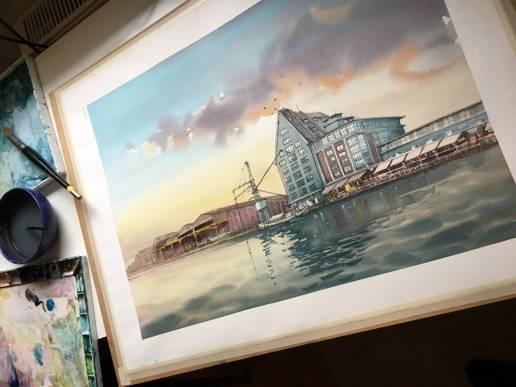 Hafen Münster Aquarell Bild