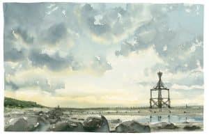 Aquarell Wangerooge noordse Zeichnung